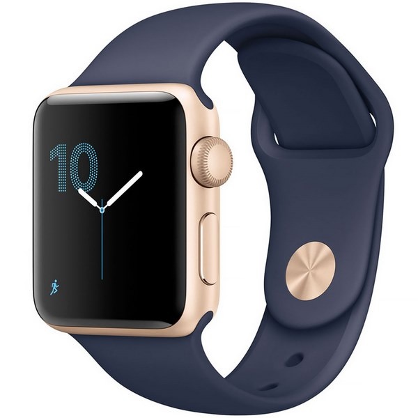 ساعت هوشمند اپل واچ 2  مدل 38mm Gold Aluminum Case with Midnight Blue Sport Band