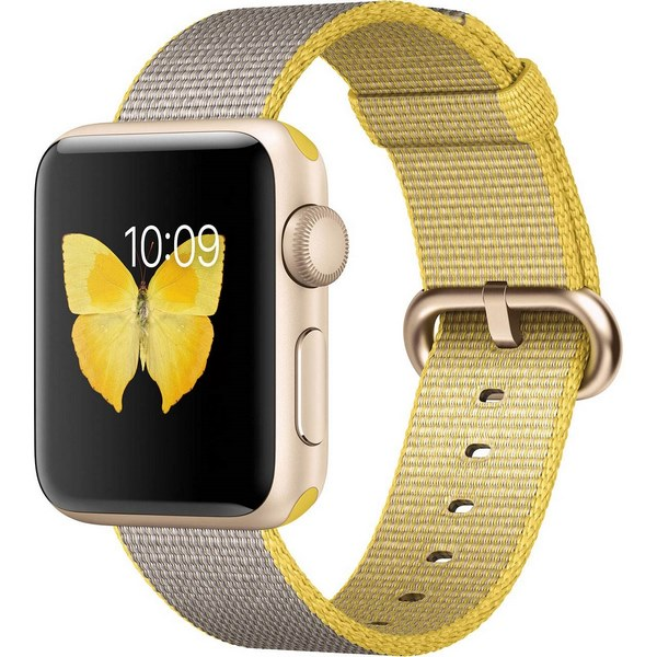 ساعت هوشمند اپل واچ 2 مدل 38mm Gold Aluminum with Yellow Gray Nylon Band
