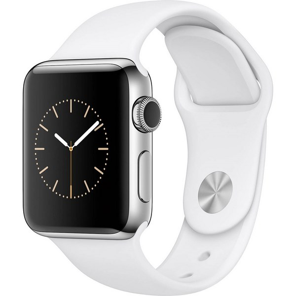 ساعت هوشمند اپل واچ 2  مدل 38mm Stainless Steel Case with White Sport Band