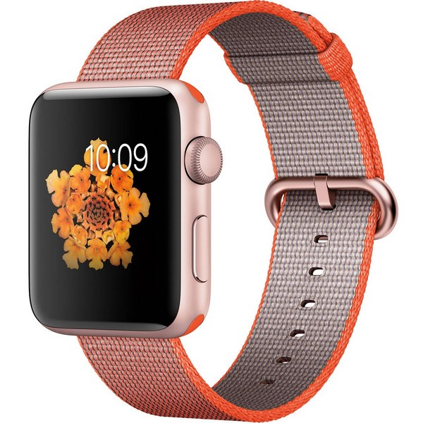 ساعت هوشمند اپل واچ 2  مدل 42mm Rose Gold Aluminum Case With Orange Nylon Band