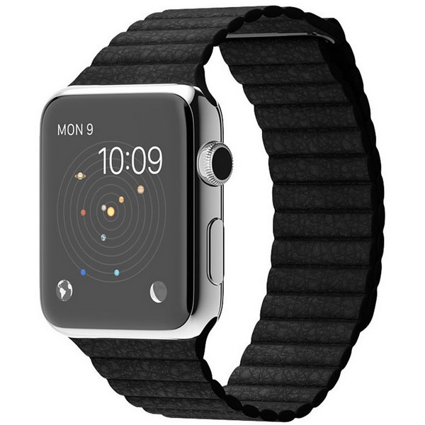 ساعت هوشمند اپل واچ مدل 42mm Stainless Steel Case With Large Black Leather Loop Band