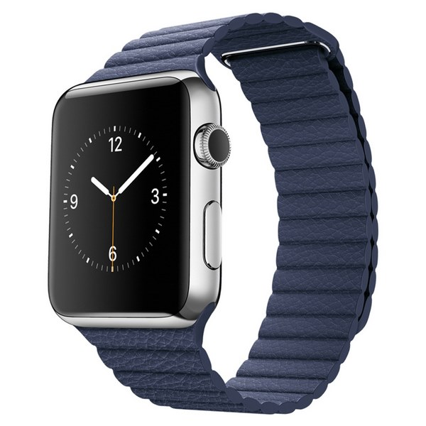 ساعت هوشمند اپل واچ مدل 42mm Stainless Steel Case with Midnight Blue Leather Loop
