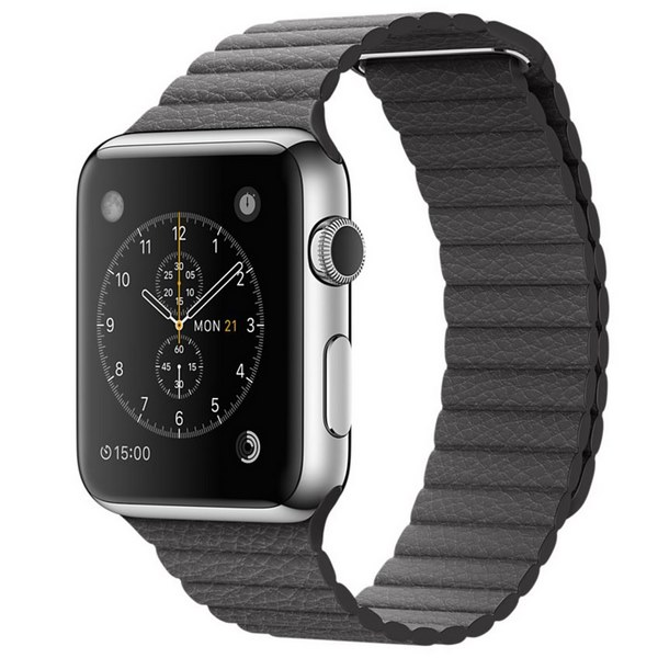 ساعت هوشمند اپل واچ مدل 42mm Stainless Steel Case With Gray Leather Loop Band