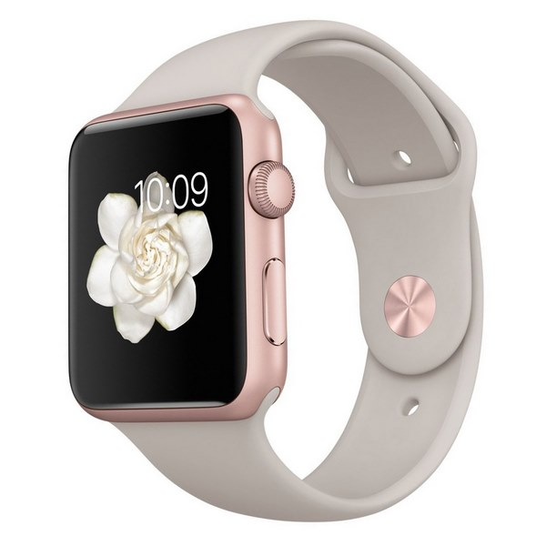 ساعت هوشمند اپل واچ مدل 42mm Rose Gold Aluminum Case with Stone Sport Band