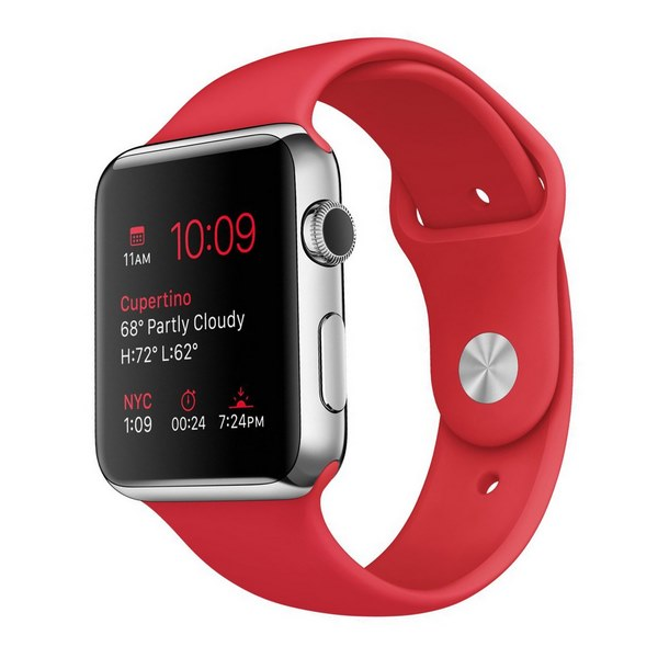 ساعت هوشمند اپل واچ مدل 42mm Stainless Steel Case with RED Sport Band