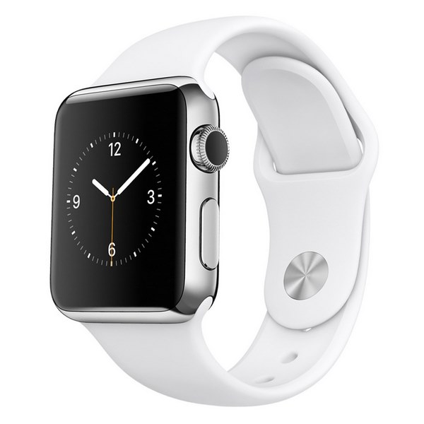 ساعت هوشمند اپل واچ مدل 38mm Stainless Steel Case with White Sport Band