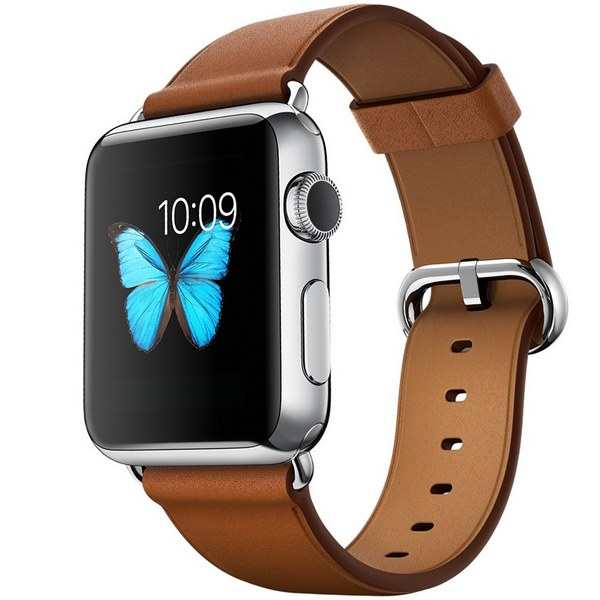 ساعت هوشمند اپل واچ مدل 42mm Stainless Steel Case with Saddle Brown Classic Buckle