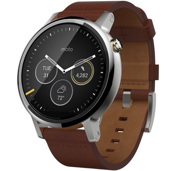 ساعت هوشمند موتورولا Moto 360 2nd Gen 46mm Silver with Cognac Leather